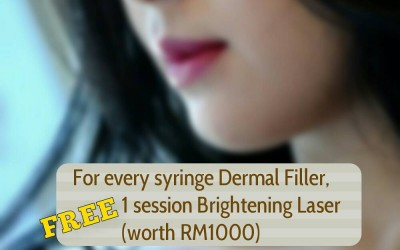 With Every Syringe of Dermal Filler, Get Yourself a whole session of Brightening Skin Laser worth RM1000 for FREE